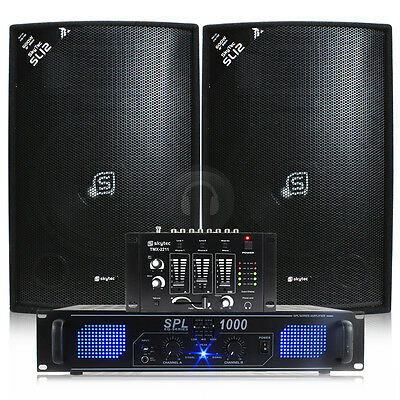2x Skytec 12 Inch Speakers, Amplifier, Mixer + Cables 1200W UK Stock
