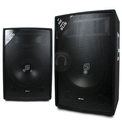 "2x Skytec 2-Way 15"" Inch 1600W Passive Speakers DJ PA Party Karaoke UK Stock"