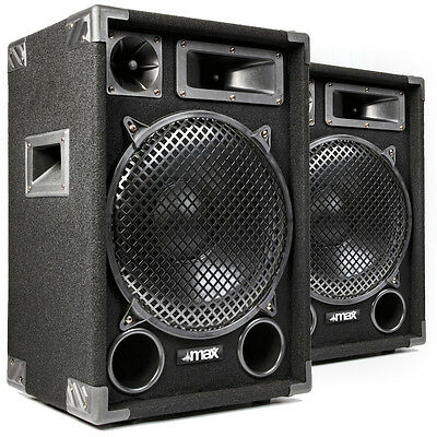 "1200W Max MAX12 12"" Inch Speakers - Home Audio Stereo Hi-Fi DJ Party UK Stock"