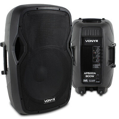 "Pair Active Powered 15"" Inch PA Speaker System
