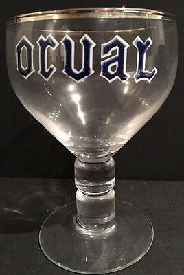 Vintage ORVAL 1950's Beer Glass Chalice Trappist Brewery Stemware Silver Rim