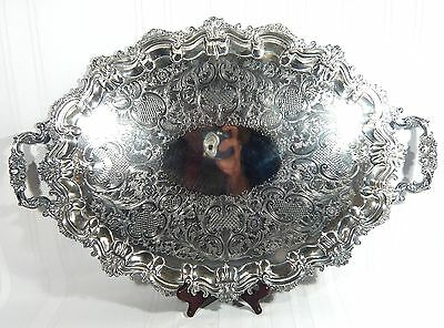 "Large POTOSI Baroque / Rococo Silver Plate 24 3/4"" by 17"" Tray  Scalloped Chased"