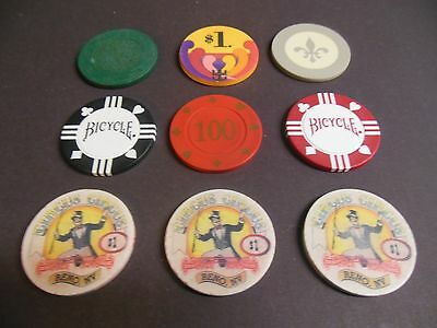 Lot Of Vintage Inlaid, Emboss, Clay Poker Chips,
