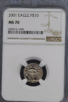 2001 $10 Platinum Eagle NGC P$10 MS70 Graded Coin RARE Value $400 early releases