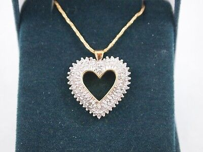 10kt heart diamond pendant with 10kt gold chain
