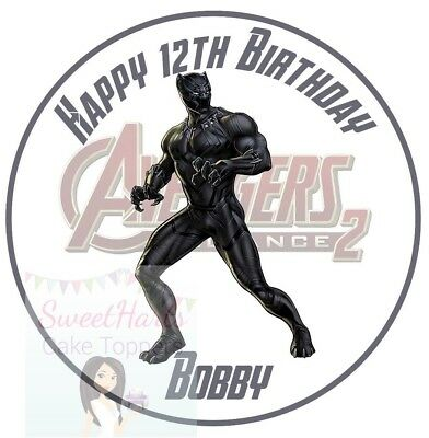 Black Panther Cake Topper Marvel Avengers Personalised Edible Icing Print