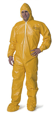 Tyvek Chemical Coveralls W/HOOD & BOOTS Hazmat Suit Yellow Sizes: L-XL