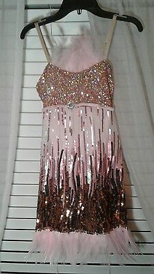 Costume gallery pink sequins feathered flapper child large style 16617