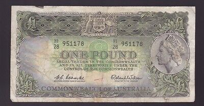 One Pound Paper Banknote Commonwealth of Australia Coombs Wilson K-692