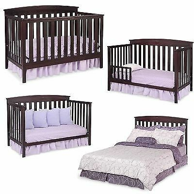 Convertible Baby Crib 4 in 1 Mattress Toddler Nursery Bed Changer Side Daybed