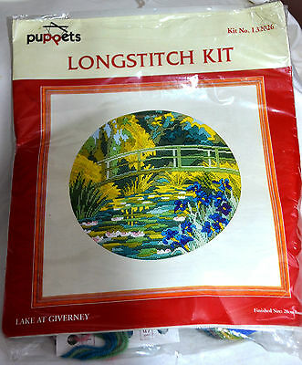 NEW COATS Long Stitch Kit 'Lake at Giverney'  28cm Round (11ins)