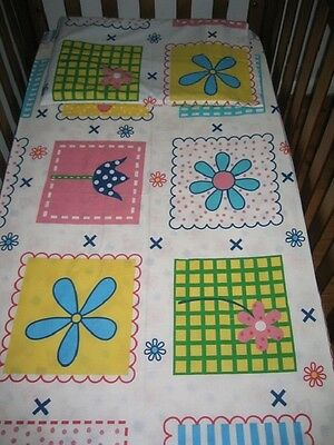 New White Flowers / Floral Baby Cot Fitted Sheet + Junior Pillowcase