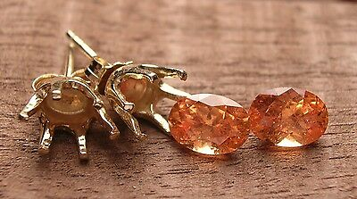 Spessartite And Thick 14K Gold, Make Your Own Earrings, Stones And Settings