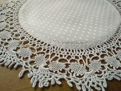 "Crochet White ""Turtle Braid"" Doily ~ Dot Damask & Fly Hand Embroidery"