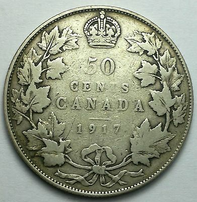 1917 Canada 50 cents silver coin, 925, sterling, Canadian coins