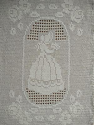 "Charming CRINOLINE LADY Hand Crochet white Large centrepiece/panel 13"" x 18.5"""