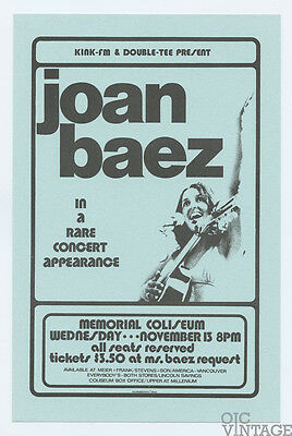 Joan Baez 1974 Nov 13 Memorial Coliseum Los Angeles Handbill