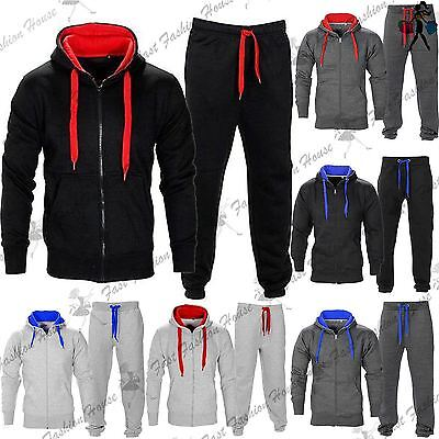 Kids Contrast Fleece Tracksuit Long Sleeve Hoodie Jogging Bottom Joggers Gym Set