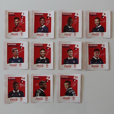 PANINI EURO 2016 complete RED set COCA COLA 11 stickers French edition | FRANCE