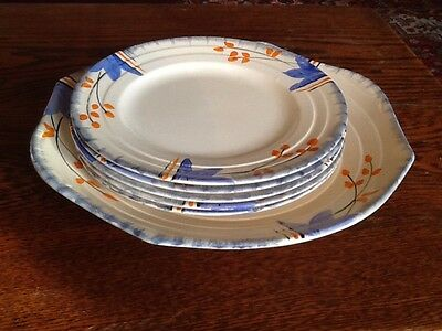 Art Deco Hand Painted Plates