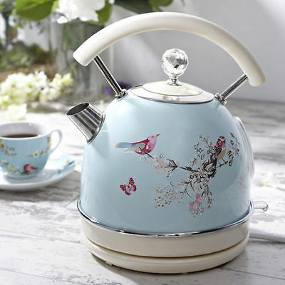 Retro Kitchen Duck Egg Diamond Jewelled Birds Kettle Electric Cordless Vintage