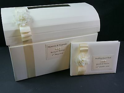 Post Box, Guest Book, Wedding, Ivory With Chiffon Flower with Pearl, Shabby Chic