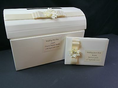 Post Box, Guest Book, Wedding, Ivory With Lotus Flower with Pearl & Diamante