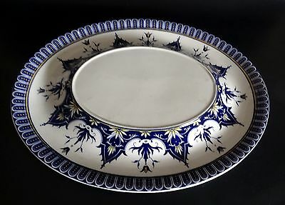Rare Oval French Antique Faience Sarraguemines/Cluny Platter Centerpiece XIXth C