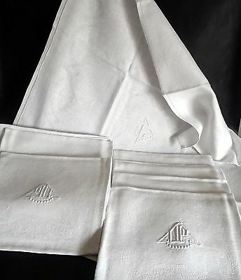 11 Large French Vintage Linen & Silk Dinner Napkins – Very Deco DC Monogram