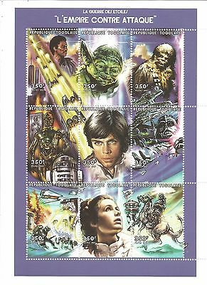 "Star Wars Rare Togolaise 1997 The Empire Strikes Back Mnh Stamp Sheet 5"" X 7"""