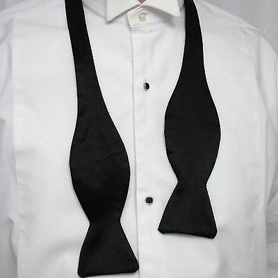 Gents Black AKCO Self Tie Dickie Bow tie 2 sizes Flat Ends Christmas