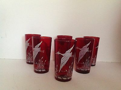 Victorian Cranberry Ethched Beakers