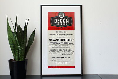 Framed original 1950s record promotions poster - Decca Records