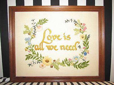 LOVE IS ALL WE NEED Sunset Embroidery Sampler w Flowers Acanthus Wreath FRAMED