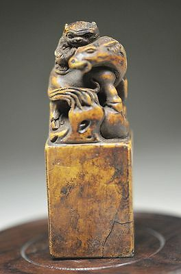 Exquisite Chinese Rock Stone Hand Carved Auspicious Horse & Monkey Seal Nn13