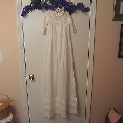 VTG Hand Embroidered Christening Gown done in Broderie Anglaise Whitework, USED