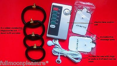 Electrosex E-Stim Tens,enlargement Set With 4 Conductive Rings,pads And Unit,uk!