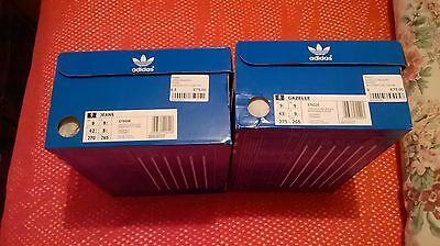 Two Empty Adidas Trainers Boxes Gazelle And Jeans Free Delivery 8.5 And 9 Sizes