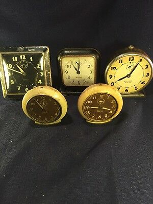VINTAGE WIND UP ALARM CLOCKS - FOR PARTS LOT OF 5 Baby Ben Westclox Sentinel