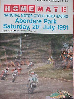 Programme Aberdare Park National Road Races Sat 20/07/91 Good Used Condition