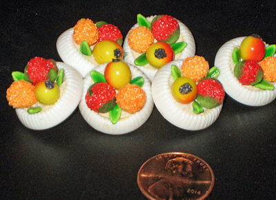 set of 6 Plastic BOWL of FRUIT BUTTONS  new Novelty
