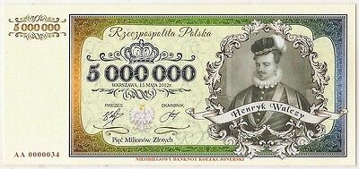 POLAND 5 000 000 ZLOTYCH  Project collector note Henryk Walezy / UNC