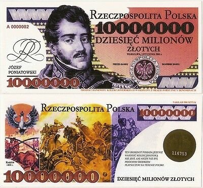 POLAND 10 000 000 ZLOTYCH  Project collector note JOZEF PONIATOWSKI / UNC