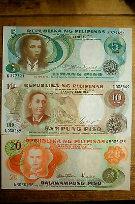 vintage set of 3 Philippines 5, 10 and 20 Pesos 1960-70's AU-Unc.
