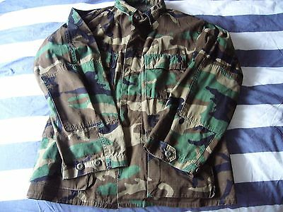 American US Army Jacket Shirt wood land camouflage rip stop 1980's VGC