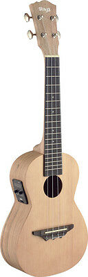 Traditional electro-acoustic concert ukulele with solid spruce top