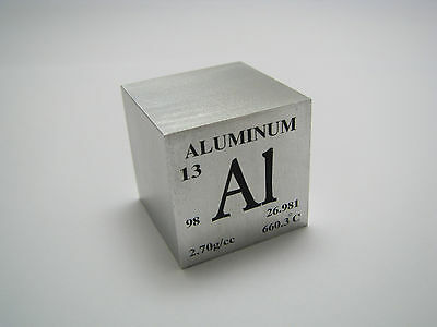 1 inch 25.4 mm Pure Aluminum metal element cube 98% pure 44 grams