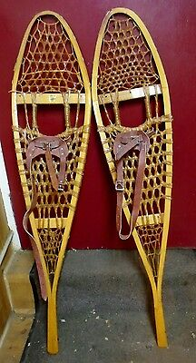 "Vintage FN Huron Made GROS LOUIS Wood Snowshoes 10"" X 46"" - Usable / Dec"
