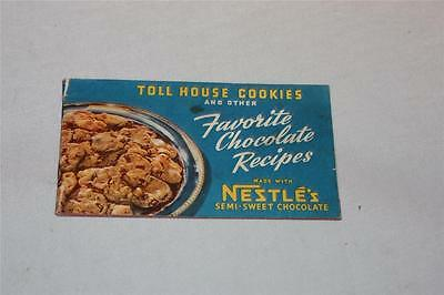 1941 Toll House Cookie recipe booklet, Nestle's chocolate, Kohler Swiss