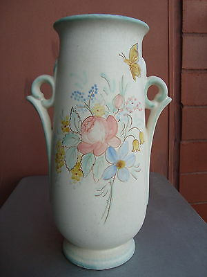 "Weller Hudson Perfecto 12.5"" Floral & Butterfly Vase Dorothy England"
